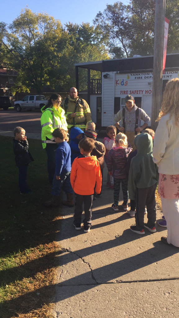 Elementary learn about fire safety.