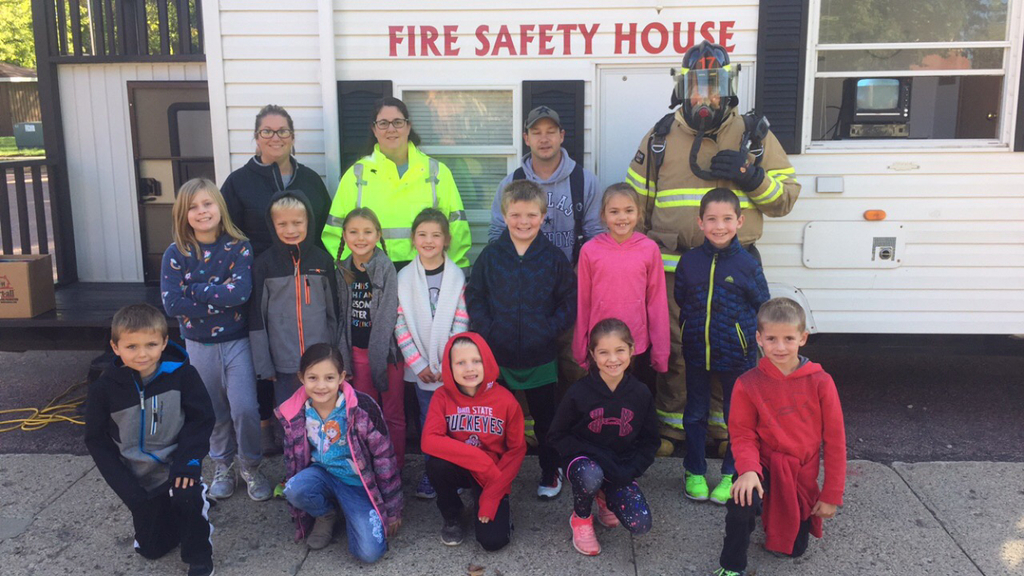 2nd grade students with Montrose Volunteer Fire Department.